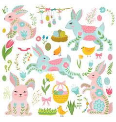 vintage elements set of easter theme rabbits vector image