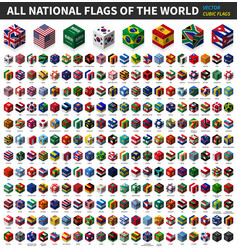 All national flag world cubic isometric vector