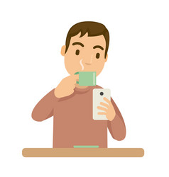 at the afternoon a guy drink coffee and playing vector image