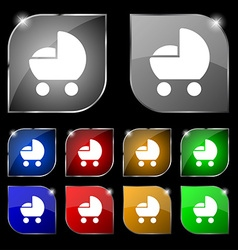 Baby pram icon sign Set of ten colorful buttons vector