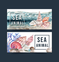 Banner design with shellfish concept watercolor vector