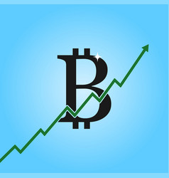 bitcoin growth graph bitcoin sign with arrow up vector image