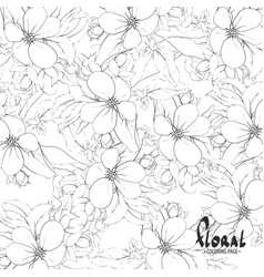 black and white apple blossoms vector image