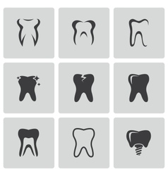 Black teeth icons set vector