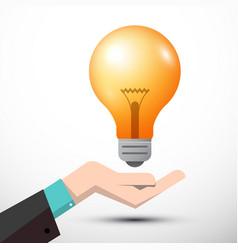 Bulb with human hand vector