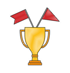 business trophy flags awards winner champion vector image