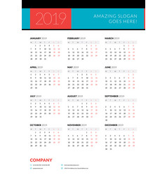 Calendar for 2019 year week starts on monday vector