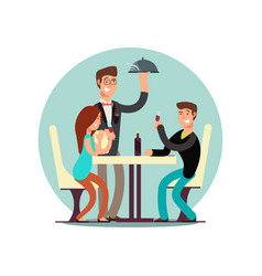 cartoon character couple dining in restaurant vector image