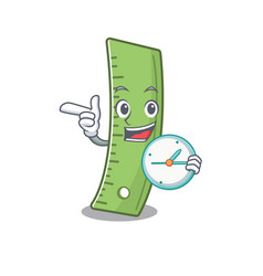 Cartoon character style ruler with having clock vector