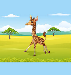 cartoon happy giraffe in the african landscape vector image