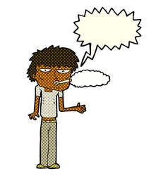 cartoon smoker with speech bubble vector image
