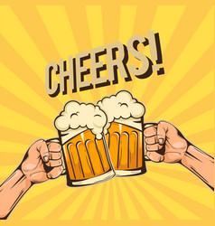 cheers two hands hold a glass of beer image vector image