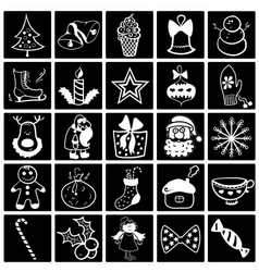 Christmas black-white icon set vector