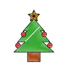 christmas tree pine ball star decoration vector image