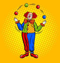 Circus clown juggles with balls pop art vector