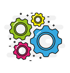 Colorful cogwheels cooperation concept black vector