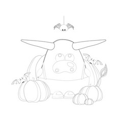 coloring page ox year 2021 cow or bull vector image
