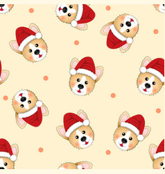 corgi santa claus on beige ivory background vector image