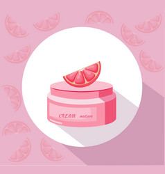 Cosmetics grapefruit cream package icons vector