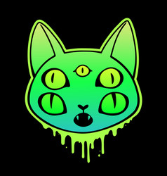 creepy cat head with five eyes and dripping drops vector image