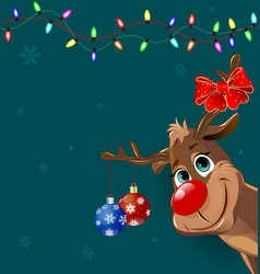cute deer with christmas decorations vector image