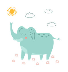 cute elephant in scandinavian style vector image
