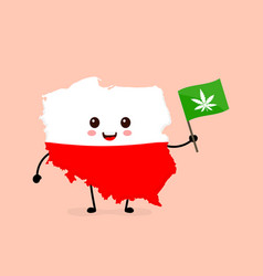 Cute funny smiling happy poland map vector