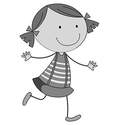 Cute happy girl in black and white vector image
