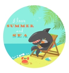 Cute shark sunbathing on deck chair vector
