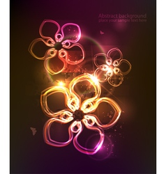 dark background with glowing floral ornament vector image