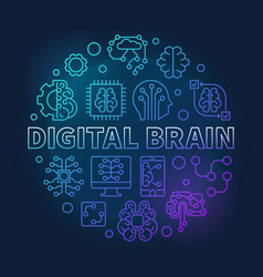 digital brain round blue line concept vector image