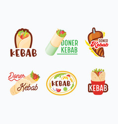 Doner kebab banners icons set arabian or turkish vector