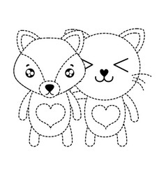 Dotted shape fox and cat cute animal friends vector
