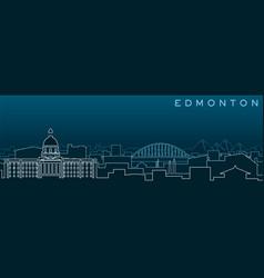 Edmonton multiple lines skyline and landmarks vector