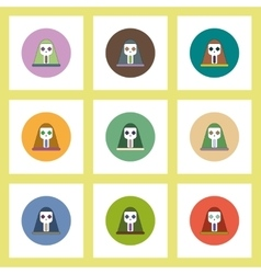 Flat icons halloween set of face mask skull vector