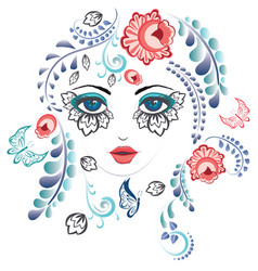 Floral girl face vector