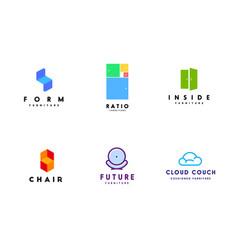 fresh logo templates set for furniture business vector image