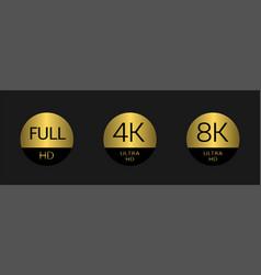 Full hd 4k badges vector