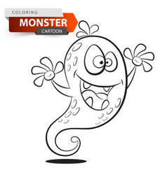 funny cute crazy cartoon monster character vector image