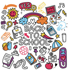 funny pattern with school supplies and creative vector image