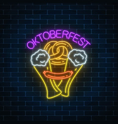 Glowing neon sign of oktoberfest festival with vector
