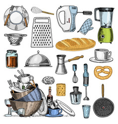 Grater and whisk frying pan turk for coffee cup vector