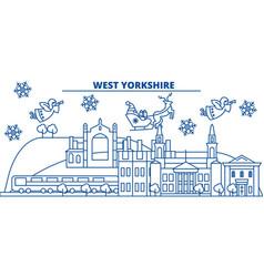 Great britain west yorkshire winter city skyline vector