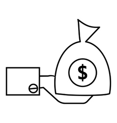 Hand holding money icon outline style vector image