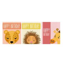 Happy birthday animals cards vector
