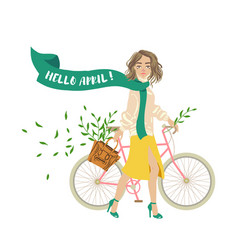 Hello april girl with bicycle spring postcard vector