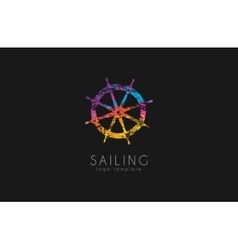 Helm logo Sailing logo design Color logo design vector