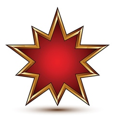 Heraldic 3d glossy star shaped icon with golden vector
