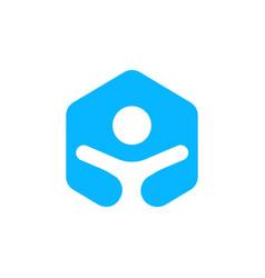 Hexagonal people unity logo icon vector