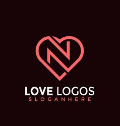 Initial letter n love modern logo design vector